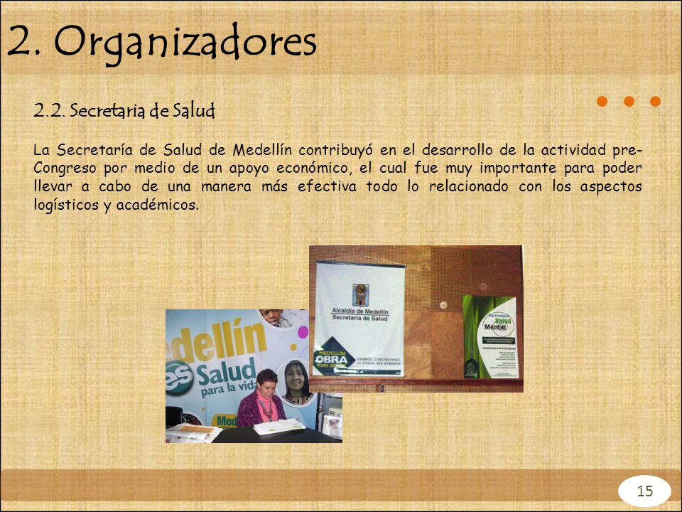 2. Organizadores 2.2. Secretaria de Salud 15