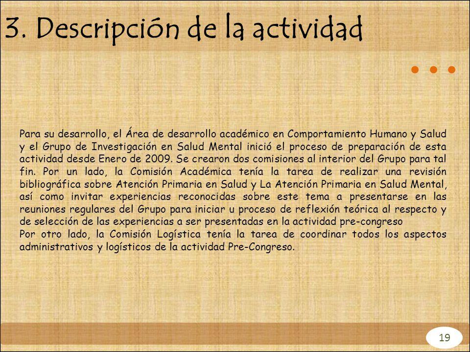 3. Descripción de la actividad