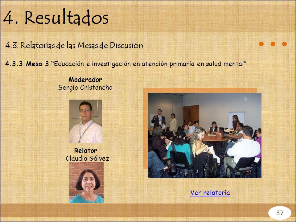 4. Resultados 4.3. Relatorías de las Mesas de Discusión 37