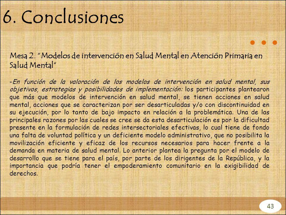 6. Conclusiones Mesa 2. Modelos de intervención en Salud Mental en Atención Primaria en Salud Mental