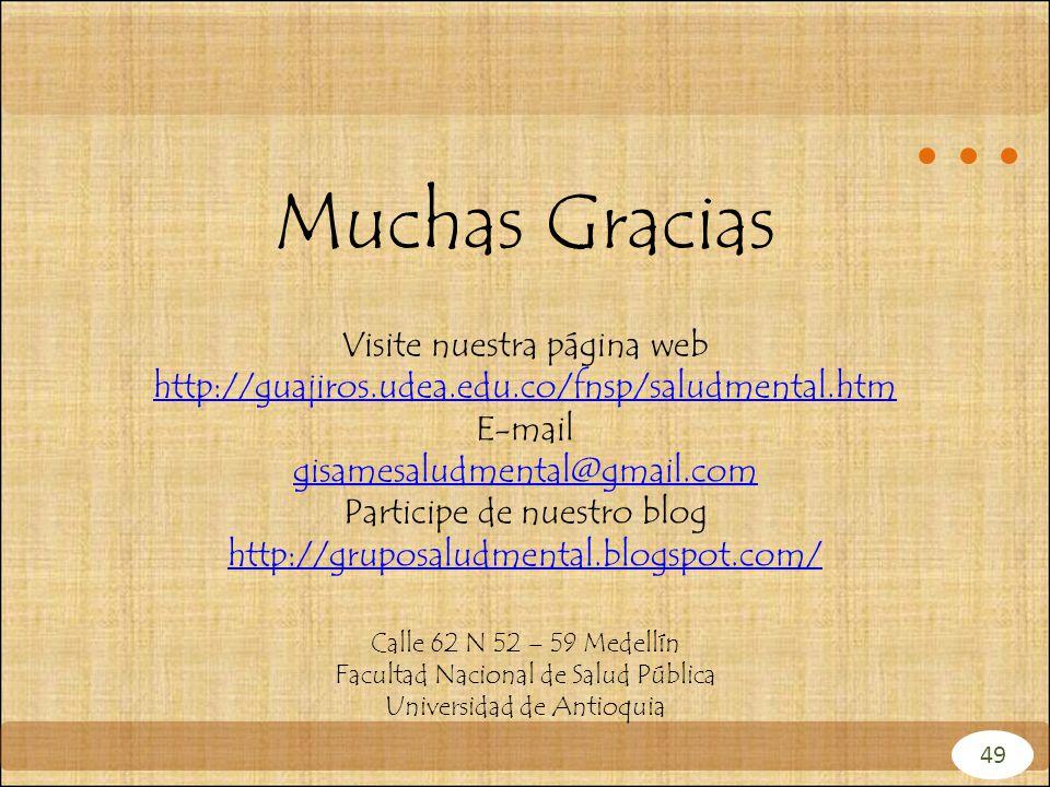 Muchas Gracias Visite nuestra página web http://guajiros.udea.edu.co/fnsp/saludmental.htm. E-mail.