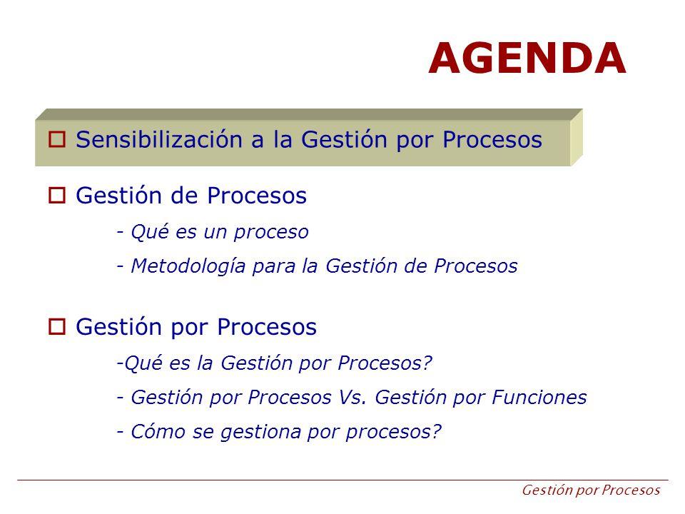 AGENDA Sensibilización a la Gestión por Procesos Gestión de Procesos