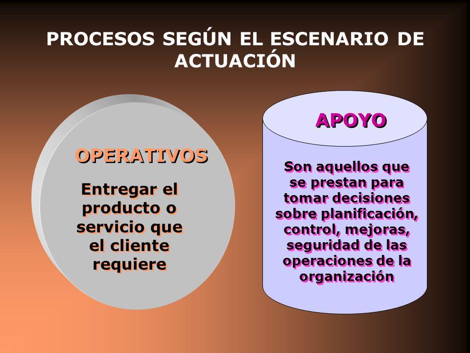 PROCESOS SEGÚN EL ESCENARIO DE ACTUACIÓN