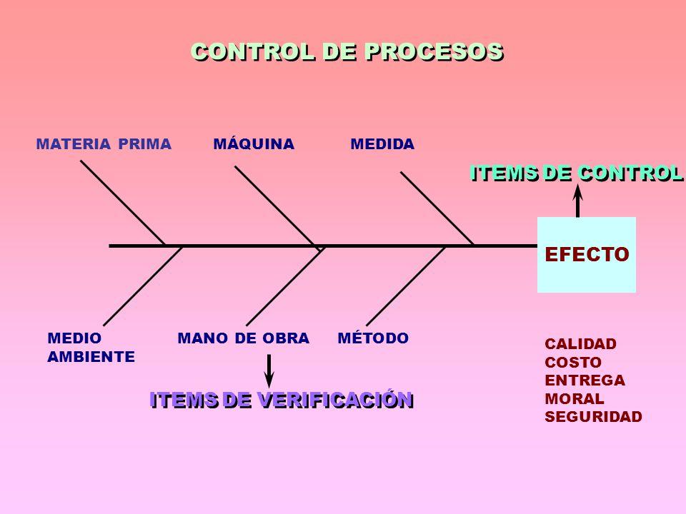 CONTROL DE PROCESOS ITEMS DE CONTROL EFECTO ITEMS DE VERIFICACIÓN