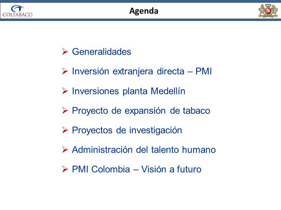 Agenda Generalidades. Inversión extranjera directa – PMI. Inversiones planta Medellín. Proyecto de expansión de tabaco.