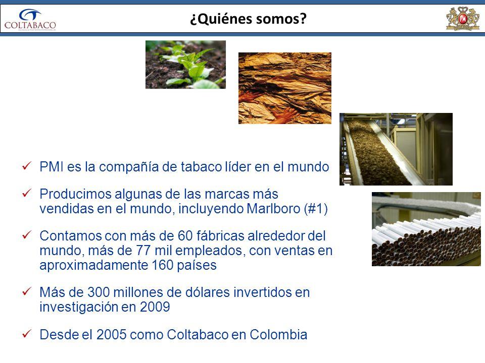 ¿Quiénes somos PMI es la compañía de tabaco líder en el mundo