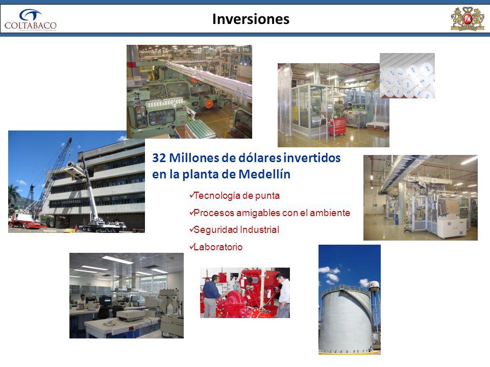 Inversiones 32 Millones de dólares invertidos en la planta de Medellín