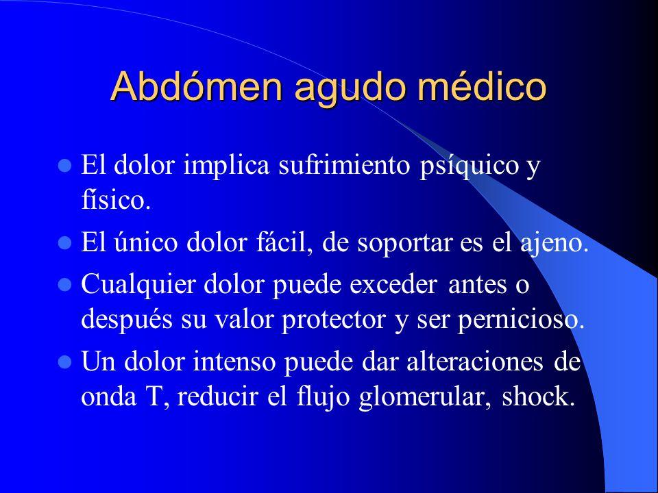 Abdómen agudo médico El dolor implica sufrimiento psíquico y físico.