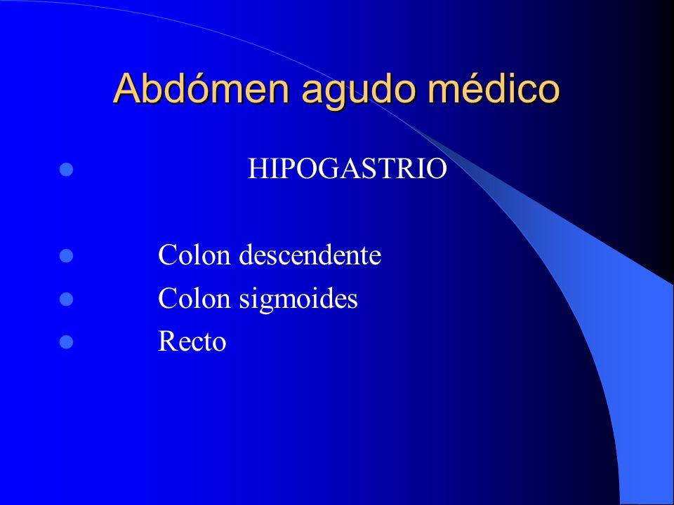 Abdómen agudo médico HIPOGASTRIO Colon descendente Colon sigmoides