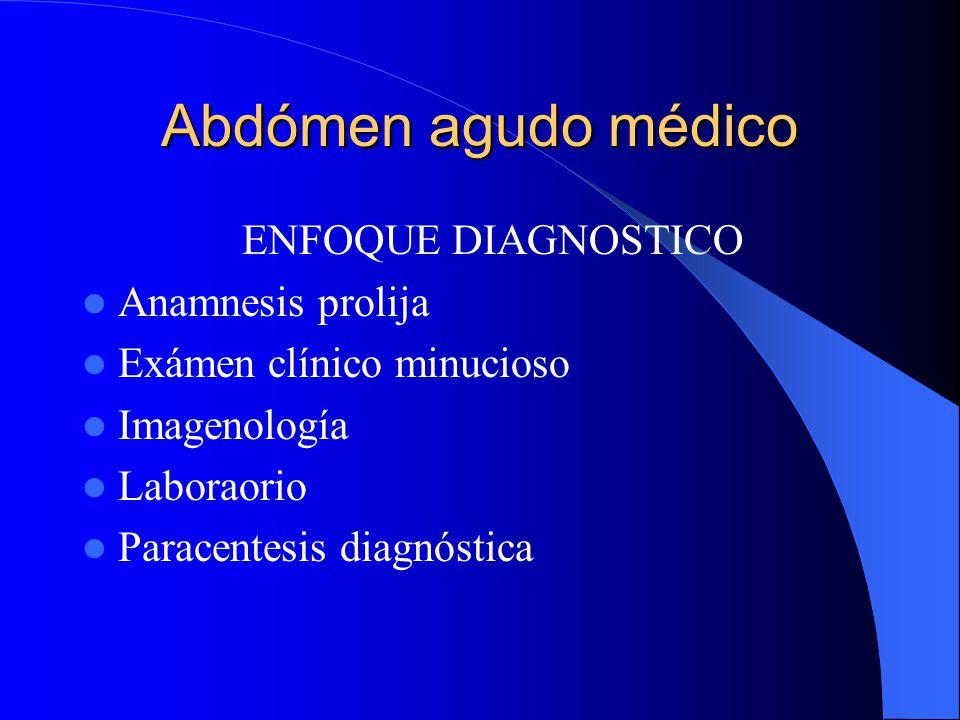 Abdómen agudo médico ENFOQUE DIAGNOSTICO Anamnesis prolija