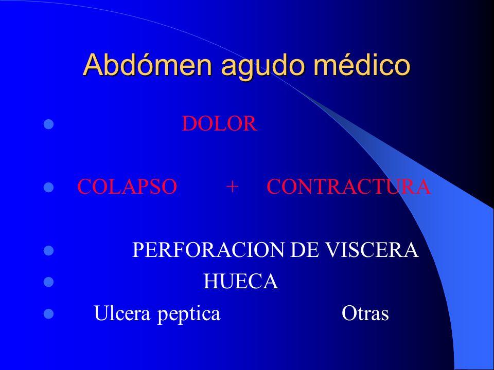Abdómen agudo médico DOLOR COLAPSO + CONTRACTURA