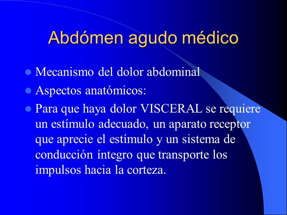 Abdómen agudo médico Mecanismo del dolor abdominal