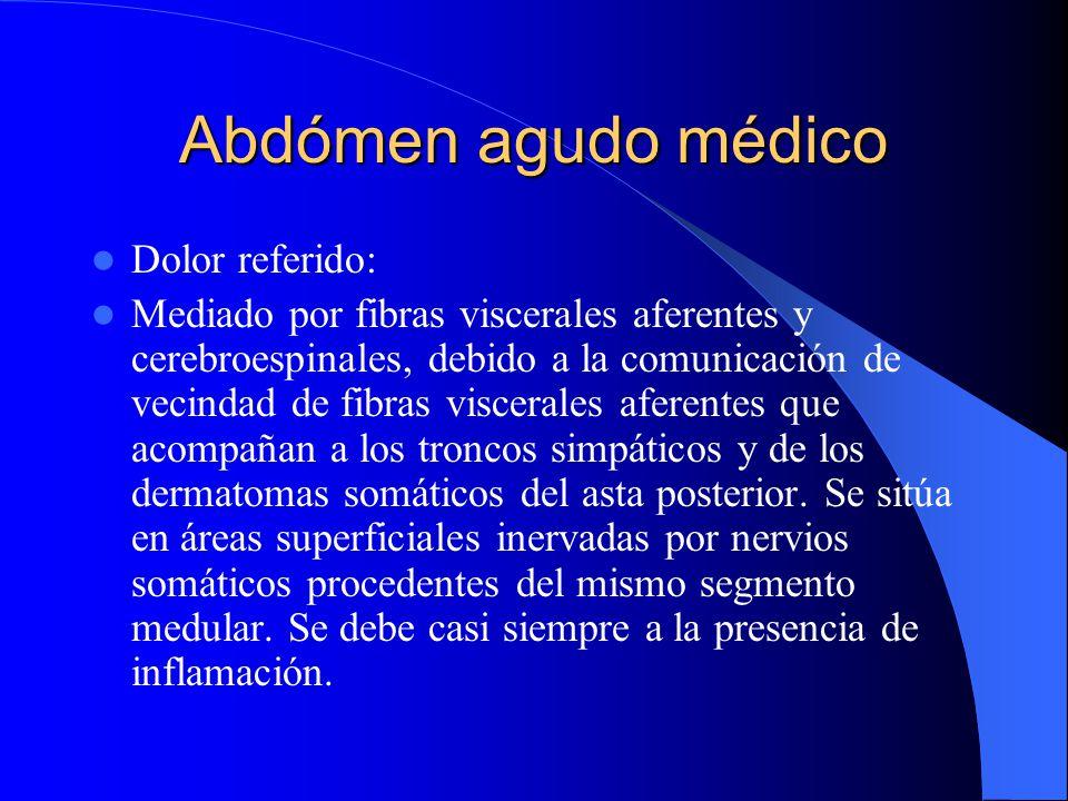 Abdómen agudo médico Dolor referido: