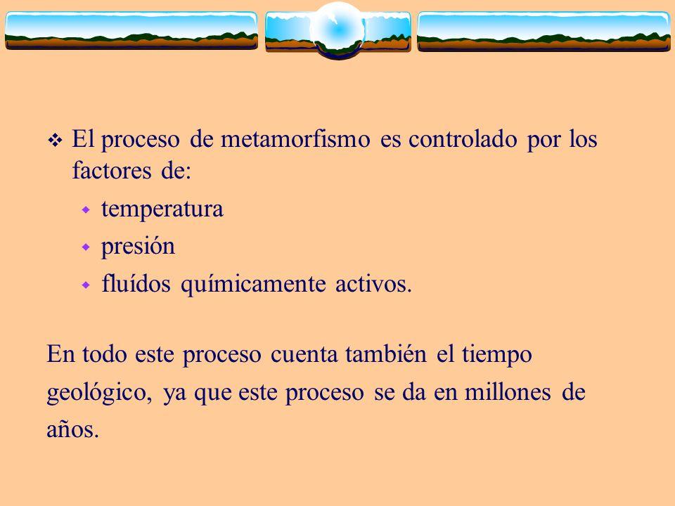 El proceso de metamorfismo es controlado por los factores de: