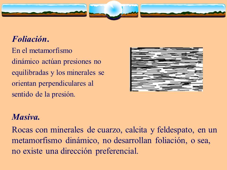 Foliación. En el metamorfismo. dinámico actúan presiones no. equilibradas y los minerales se. orientan perpendiculares al.