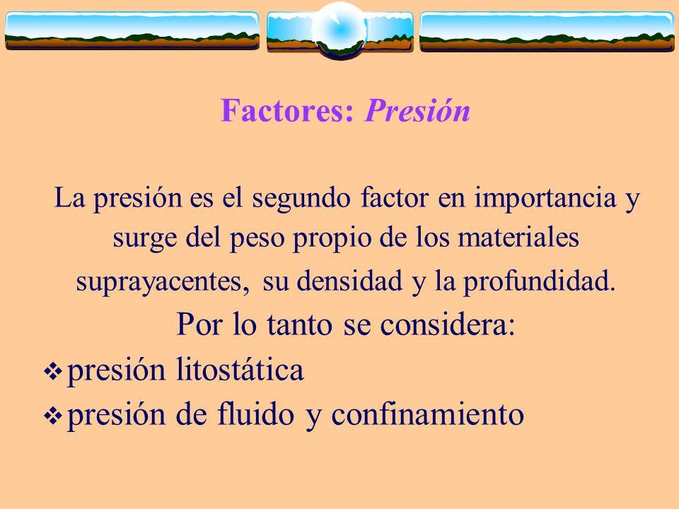 Por lo tanto se considera: presión litostática