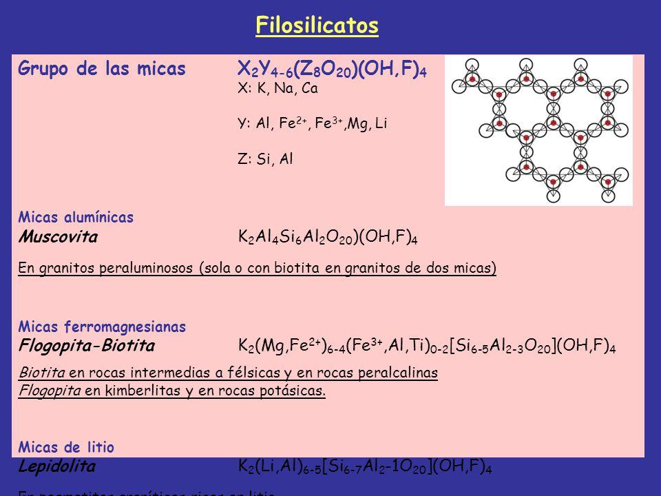 Filosilicatos Grupo de las micas X2Y4-6(Z8O20)(OH,F)4