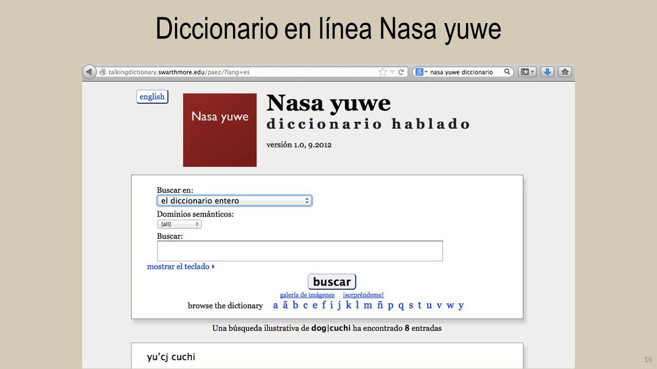 Diccionario en línea Nasa yuwe