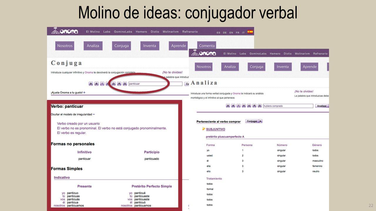 Molino de ideas: conjugador verbal