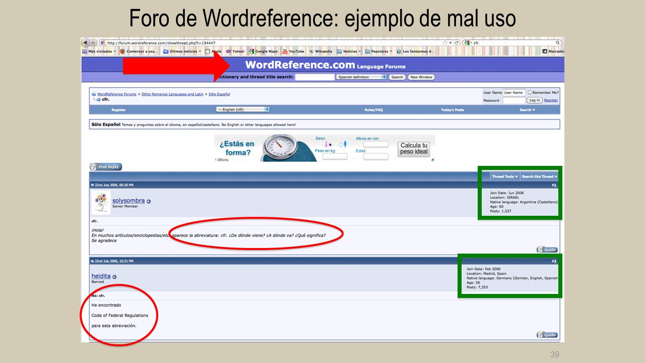 Foro de Wordreference: ejemplo de mal uso
