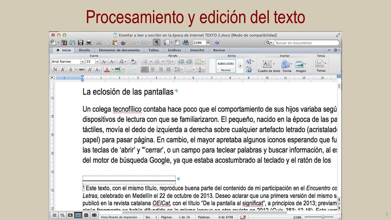 Procesamiento y edición del texto