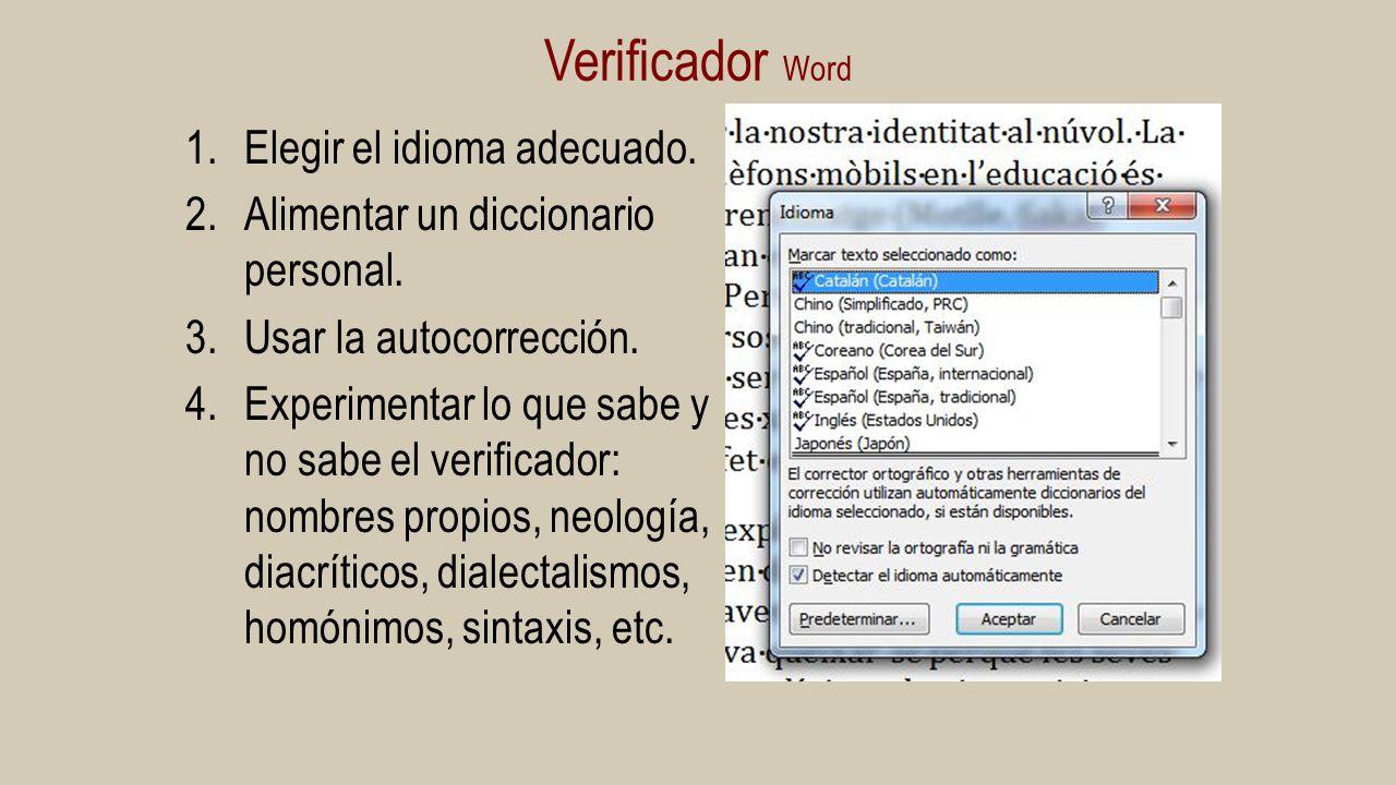 Verificador Word Elegir el idioma adecuado.