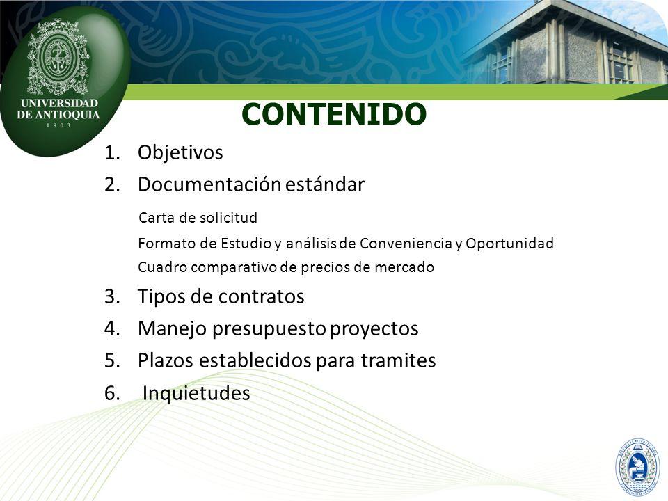 CONTENIDO Objetivos Documentación estándar Carta de solicitud