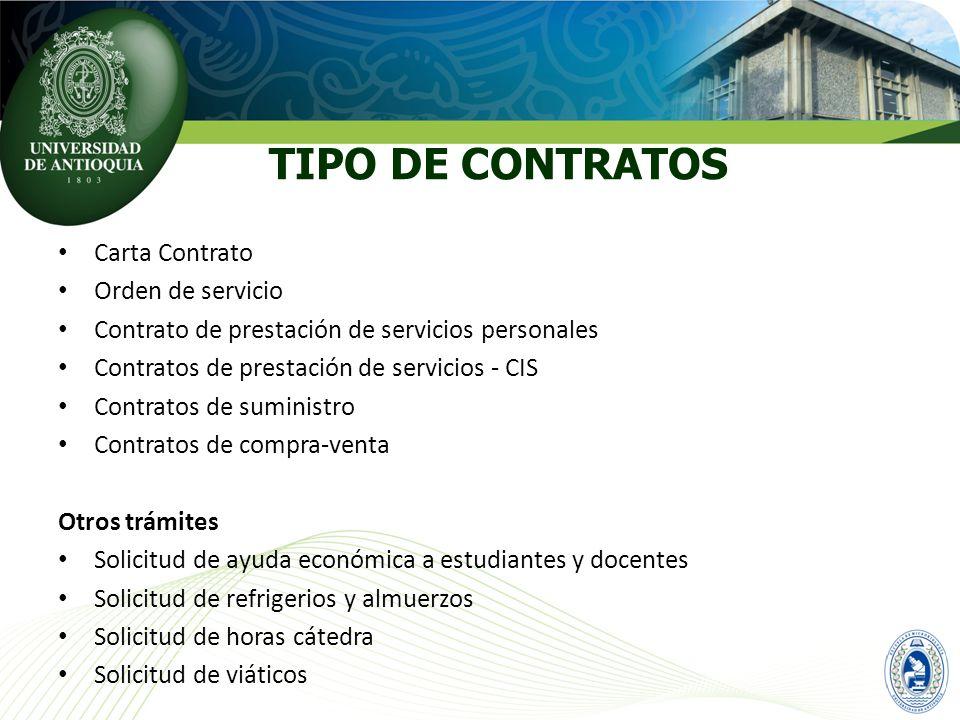 TIPO DE CONTRATOS Carta Contrato Orden de servicio