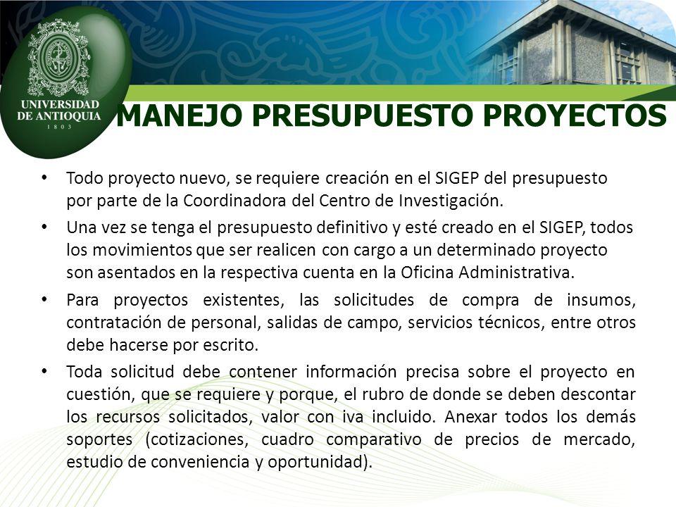 MANEJO PRESUPUESTO PROYECTOS