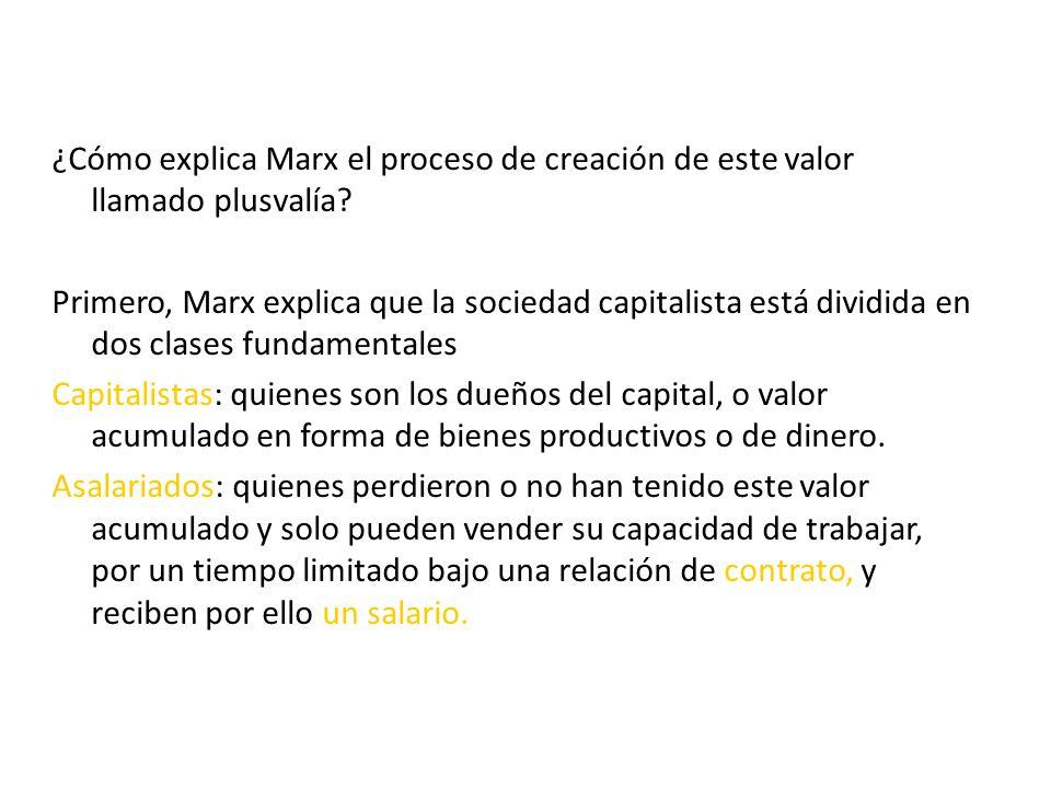 ¿Cómo explica Marx el proceso de creación de este valor llamado plusvalía.