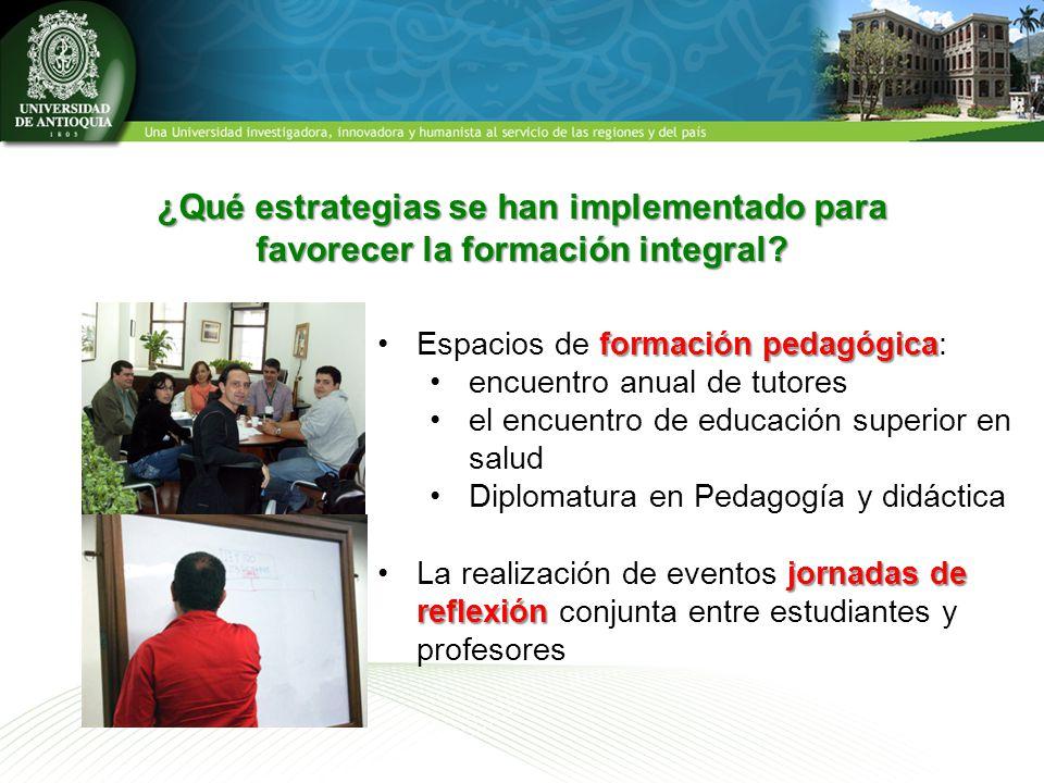 ¿Qué estrategias se han implementado para favorecer la formación integral