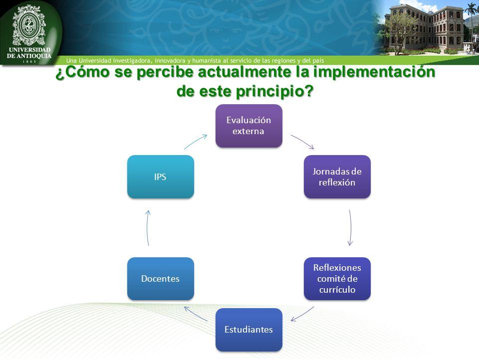 ¿Cómo se percibe actualmente la implementación de este principio