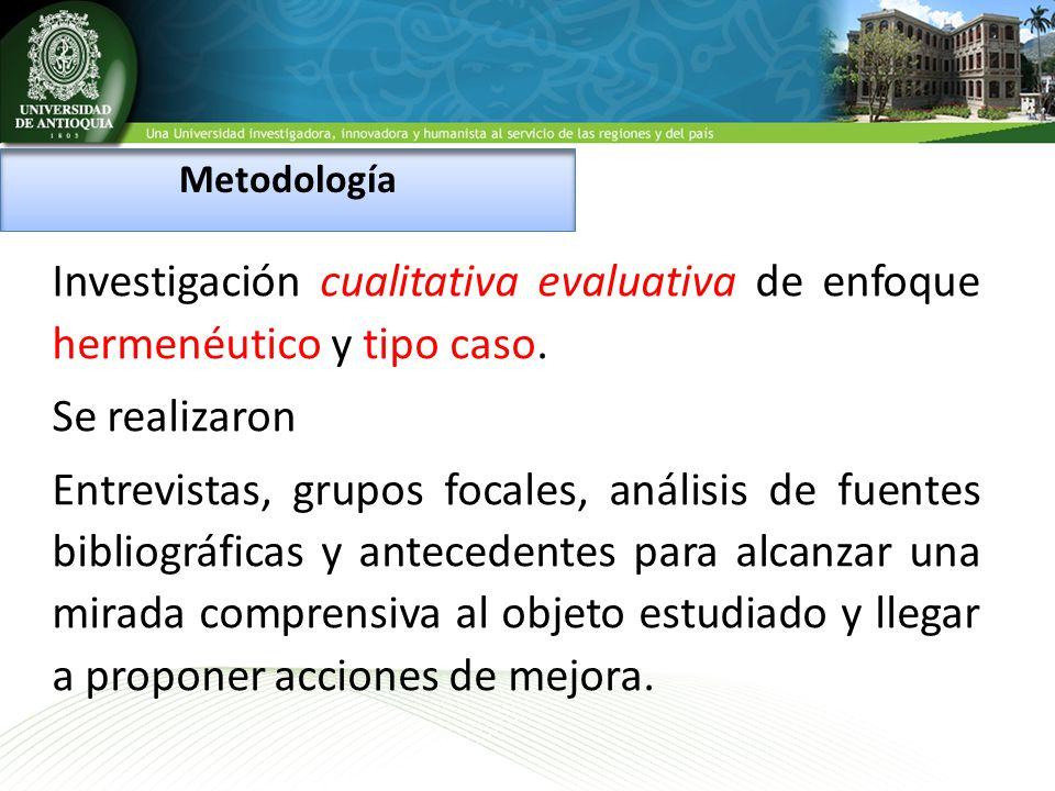 Metodología Investigación cualitativa evaluativa de enfoque hermenéutico y tipo caso. Se realizaron.