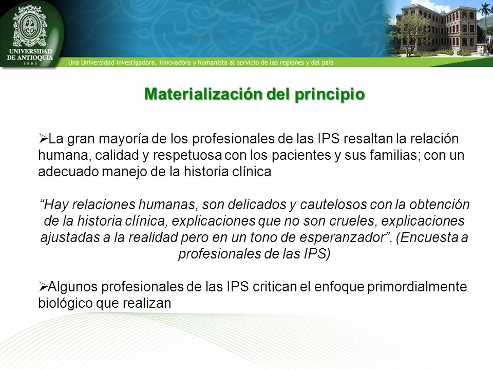 Materialización del principio