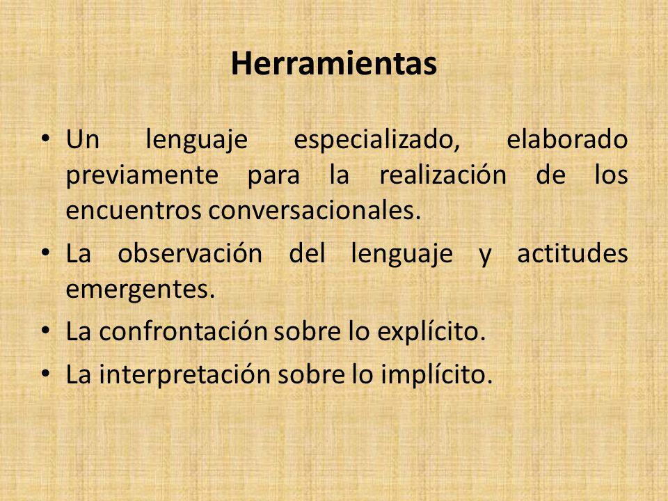 Herramientas Un lenguaje especializado, elaborado previamente para la realización de los encuentros conversacionales.