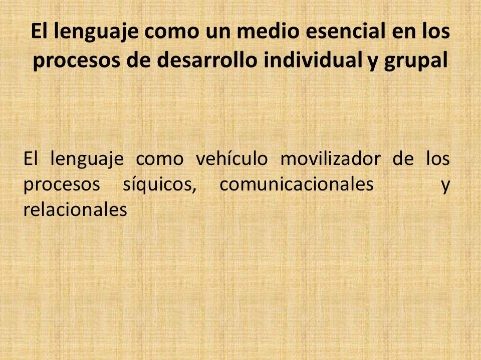 El lenguaje como un medio esencial en los procesos de desarrollo individual y grupal