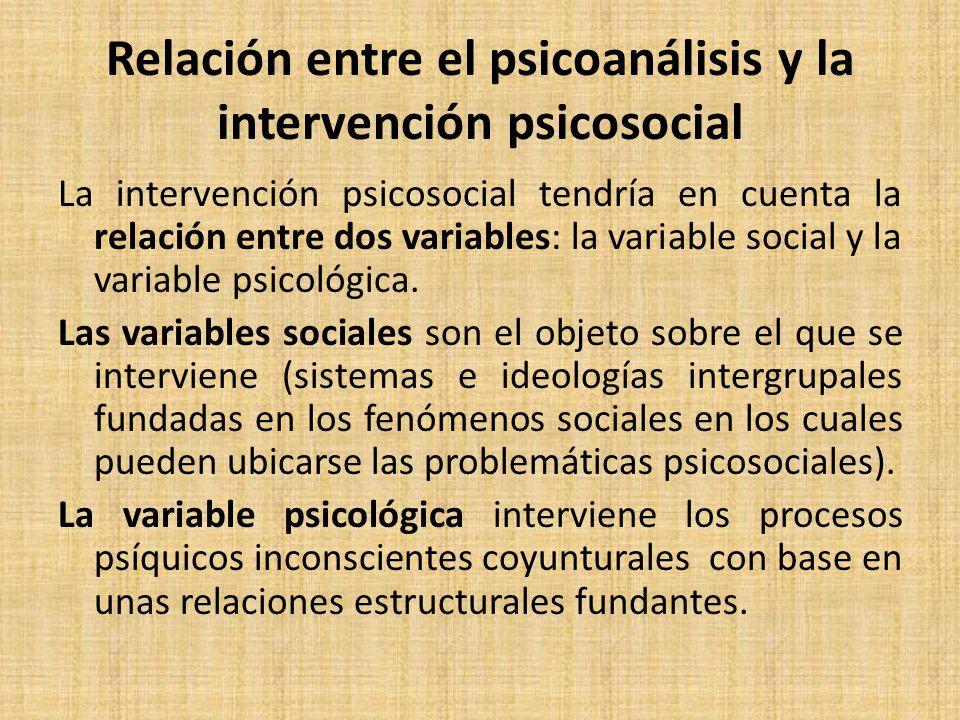 Relación entre el psicoanálisis y la intervención psicosocial
