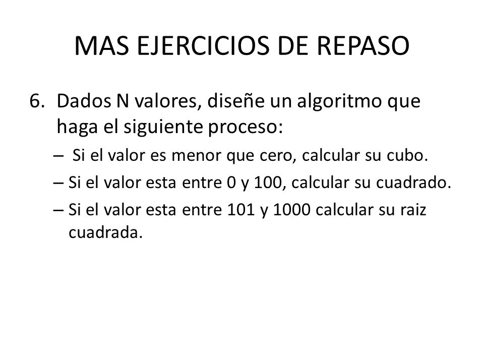 MAS EJERCICIOS DE REPASO