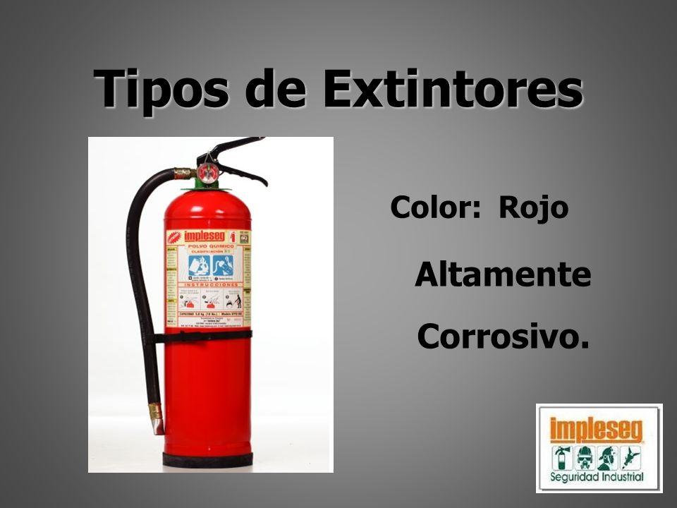Tipos de Extintores Color: Rojo Altamente Corrosivo.