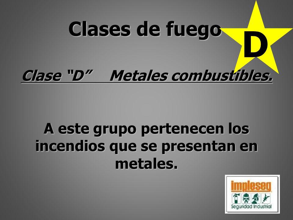 D Clases de fuego Clase D Metales combustibles.