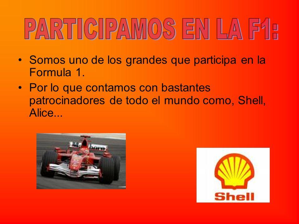 PARTICIPAMOS EN LA F1: Somos uno de los grandes que participa en la Formula 1.