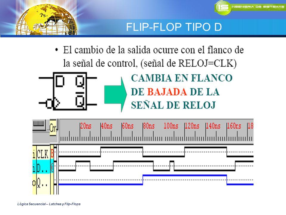 FLIP-FLOP TIPO D Lógica Secuencial – Latches y Flip-Flops