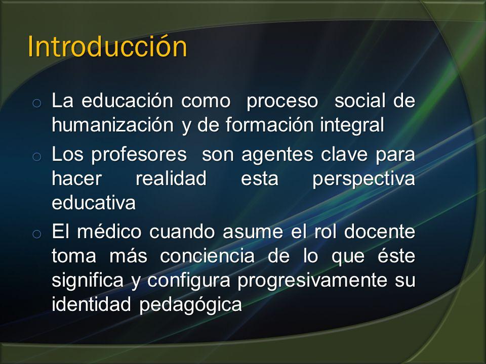 Introducción La educación como proceso social de humanización y de formación integral.