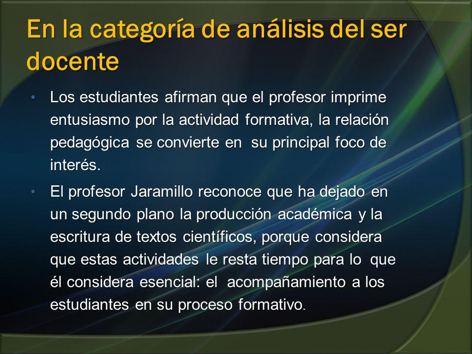En la categoría de análisis del ser docente