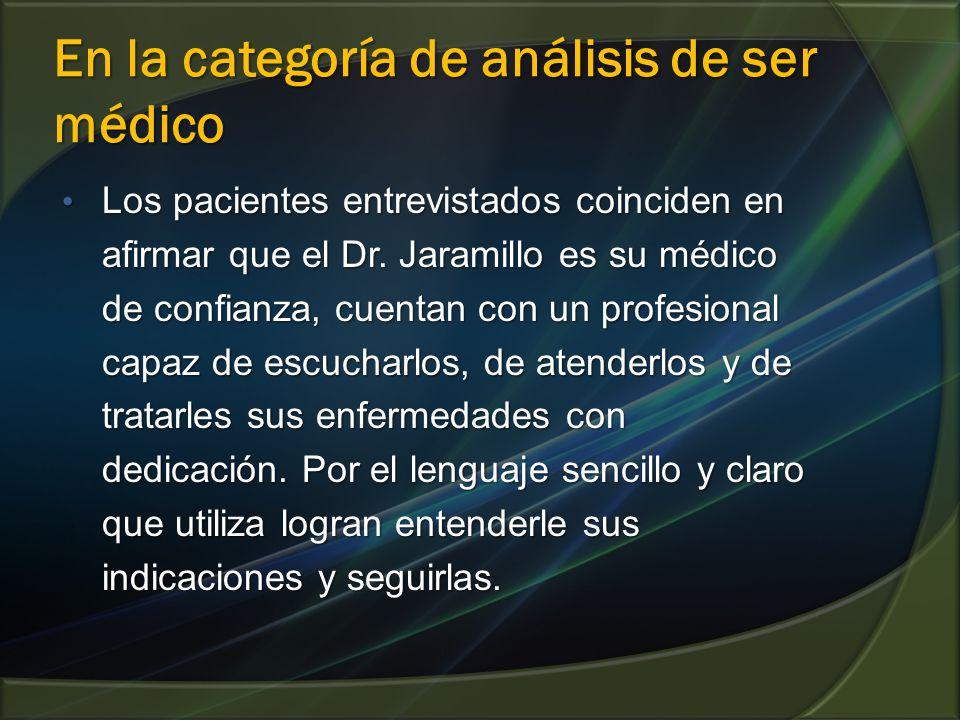 En la categoría de análisis de ser médico