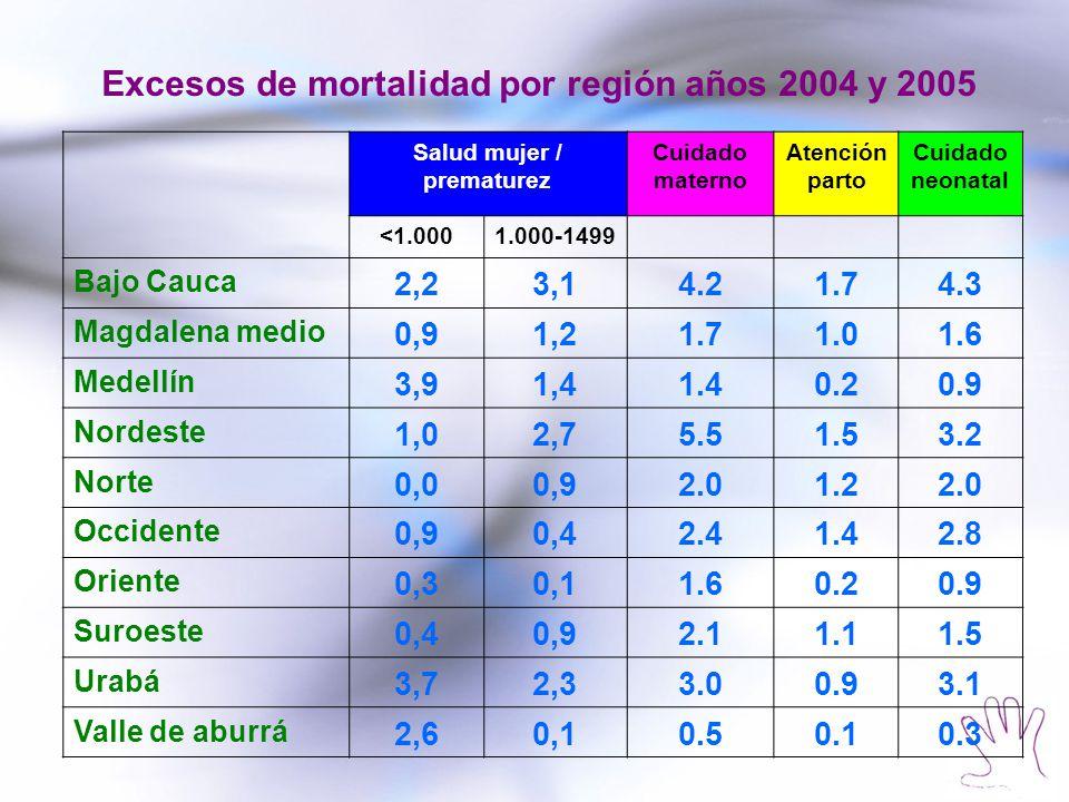 Excesos de mortalidad por región años 2004 y 2005