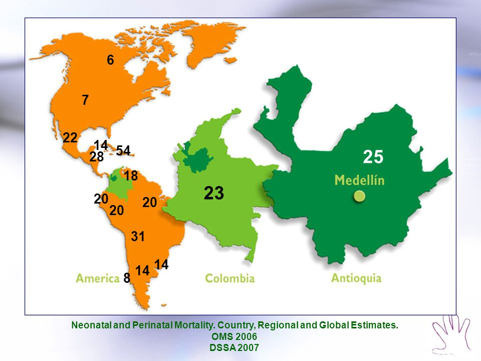 6 7. 22. 14. 54. 25. 28. 18. 23. 20. 20. 20. 31. 14. 14. 8. Neonatal and Perinatal Mortality. Country, Regional and Global Estimates.