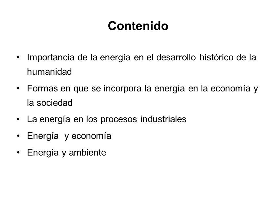 Contenido Importancia de la energía en el desarrollo histórico de la humanidad. Formas en que se incorpora la energía en la economía y la sociedad.