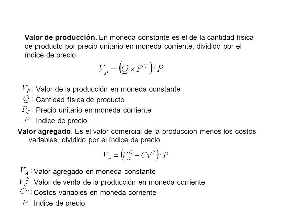 Valor de producción. En moneda constante es el de la cantidad física de producto por precio unitario en moneda corriente, dividido por el índice de precio