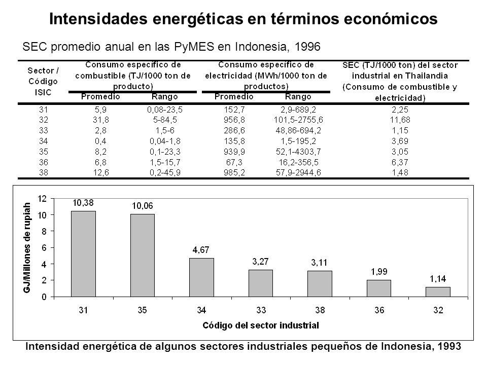 Intensidades energéticas en términos económicos